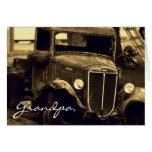 Fotografía antigua de la sepia del camión de la gr tarjetón