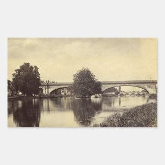 Fotografía antigua del puente ferroviario de Maide Pegatina