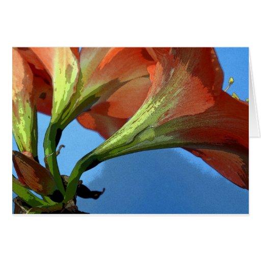 Fotografía artsy del amaryllis tarjeta de felicitación