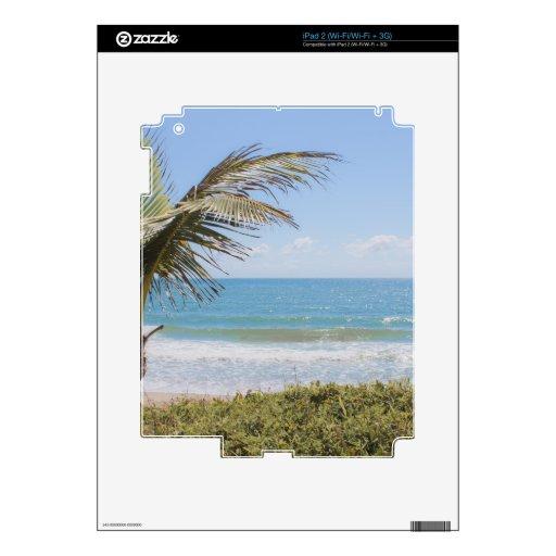 Fotografía azul de la palma del mar y de coco calcomanía para iPad 2