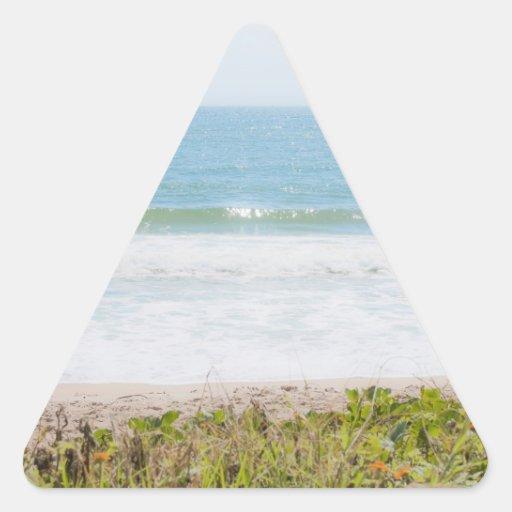 Fotografía azul de la playa del mar pegatina triangulo