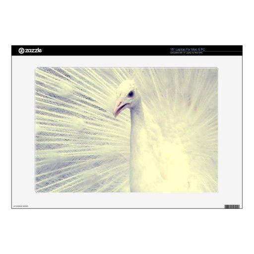 Fotografía blanca de la bella arte del pavo real 38,1cm portátil calcomanía