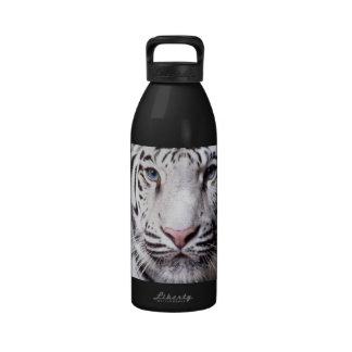 Fotografía blanca del tigre de Bengala Botella De Agua Reutilizable