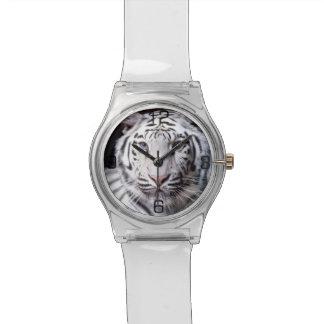 Fotografía blanca del tigre de Bengala Reloj De Mano