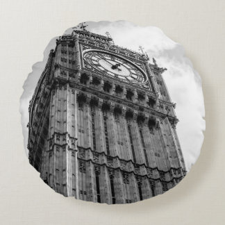 Fotografía blanco y negro de Big Ben, Londres Cojín Redondo