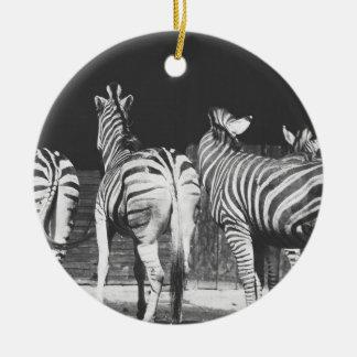 Fotografía blanco y negro de la cebra ornamentos de navidad