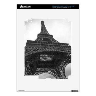 Fotografía blanco y negro de la torre Eiffel Pegatina Skin Para iPad 3