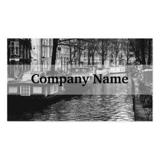 Fotografía blanco y negro del canal de Amsterdam Tarjetas De Visita