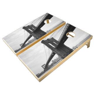 Fotografía blanco y negro del puente de Brooklyn Juego De Cornhole