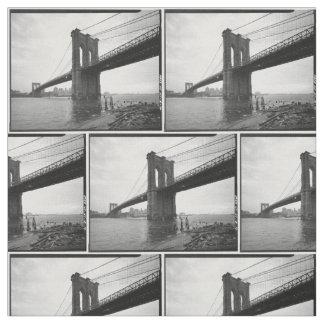 Fotografía blanco y negro del puente de Brooklyn Telas