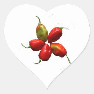Fotografía caliente de cinco pimientas del pegatina de corazón personalizadas