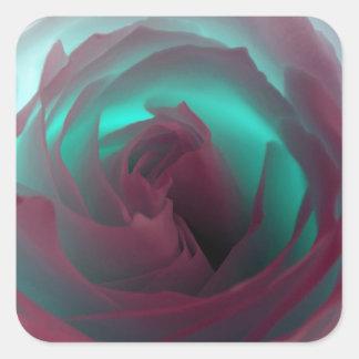 Fotografía color de rosa de neón pegatina cuadrada