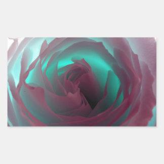 Fotografía color de rosa de neón pegatina rectangular