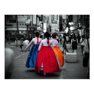 fotografía coreana del chica del tradional tarjetas postales