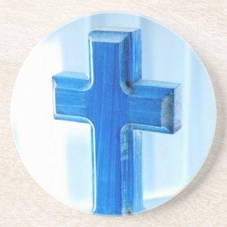 Fotografía cruzada de madera, tinte azul, iglesia posavasos manualidades