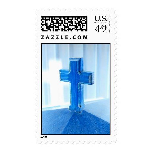 Fotografía cruzada de madera, tinte azul, iglesia envio