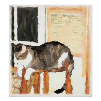 Fotografía de Digitaces del gato que se encarama Póster
