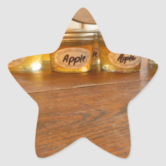 Fotografía de enlatado de la jalea de Apple Pegatina En Forma De Estrella