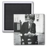 Fotografía de John F. Kennedy 2 Imán Cuadrado