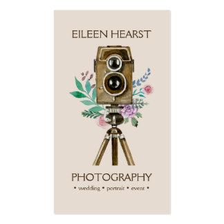 Fotografía de la acuarela de la cámara y de las tarjetas de visita