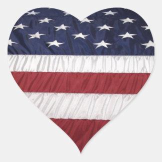 Fotografía de la bandera americana calcomanía de corazón personalizadas