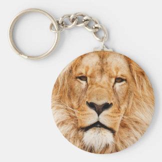 Fotografía de la cara del león llavero redondo tipo pin