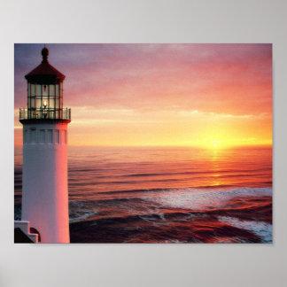 Fotografía de la casa ligera de la vista al mar poster