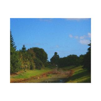 Fotografía de la corriente del cielo azul de los á impresiones en lona estiradas