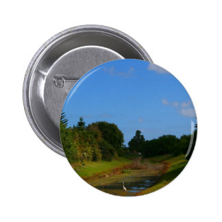 Fotografía de la corriente del cielo azul de los á pin redondo 5 cm