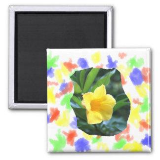 Fotografía de la flor de trompeta amarilla imán cuadrado