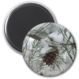 Fotografía de la naturaleza del invierno de la imán redondo 5 cm
