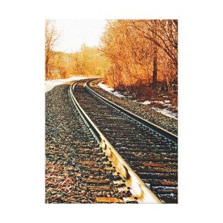 Fotografía de la pista del tren impresión en lienzo