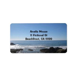Fotografía de la playa de California Etiqueta De Dirección