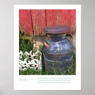 Fotografía de la reliquia de la granja y cita insp póster