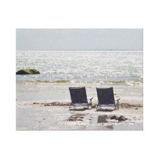 Fotografía de la silla de playa impresión en lona