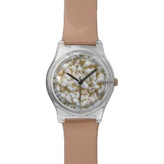 Fotografía de la textura de las palomitas relojes de pulsera