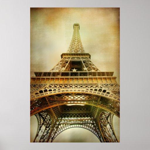 Fotografía de la torre Eiffel del vintage Póster