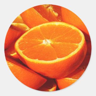 Fotografía de los naranjas pegatina redonda