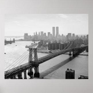 Fotografía de NYC y del puente de Williamsburg Póster