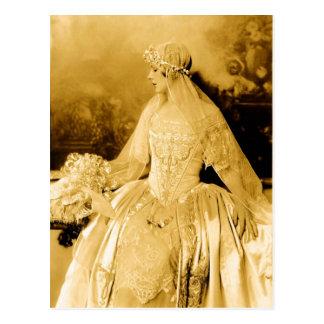 Fotografía de oro de la novia del vintage tarjeta postal