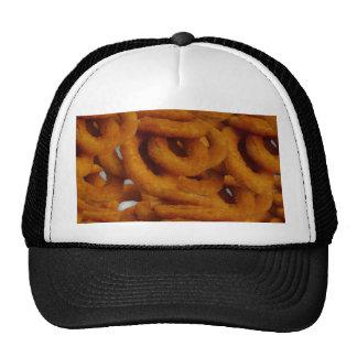 Fotografía de oro frita de los anillos de cebolla gorra