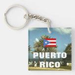 Fotografía de Puerto Rico del vintage Llavero Cuadrado Acrílico A Doble Cara