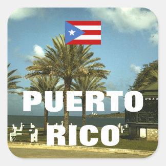 Fotografía de Puerto Rico del vintage Pegatina Cuadrada