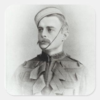 Fotografía de sir Francisco Younghusband Pegatinas Cuadradas Personalizadas