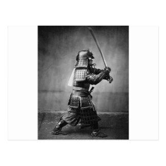 Fotografía de un samurai C. 1860 Postal