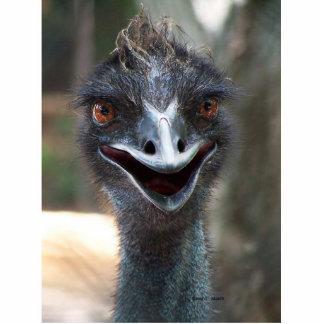¡Fotografía del Emu que dice hola! Abra el pico Escultura Fotografica