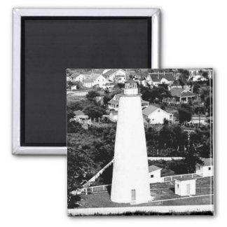 Fotografía del faro de Ocracoke del vintage Imán Cuadrado