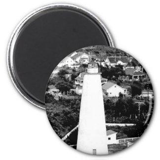 Fotografía del faro de Ocracoke del vintage Imán Redondo 5 Cm