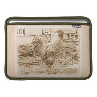 Fotografía del gallo del estilo del vintage fundas para macbook air