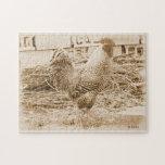 Fotografía del gallo del estilo del vintage rompecabezas